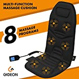 Gideon™ Powerful Vibrating Massager Seat Cushion for Back, Shoulder and Thighs with Heat Therapy / 8-Massaging Programs - Massage, Relax, Sooth and Relieve Thigh, Shoulder and Back Pain
