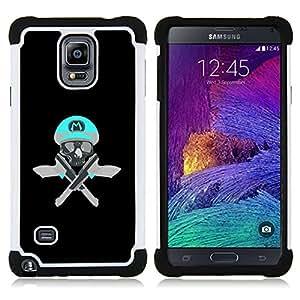 BullDog Case - FOR/Samsung Galaxy Note 4 SM-N910 N910 / - / SKULL FUNNY M GAME RETRO GUNS PISTOLS /- H??brido Heavy Duty caja del tel??fono protector din??mico - silicona suave