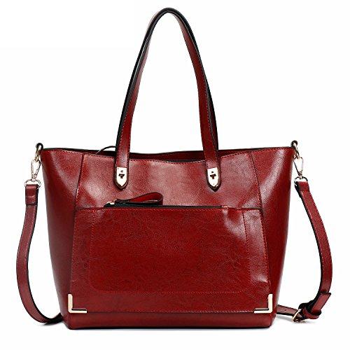 - SIFINI Women Fashion Top Handle Satchel Handbags Shoulder Bag Tote Purse Crossbody Bags (wine red)