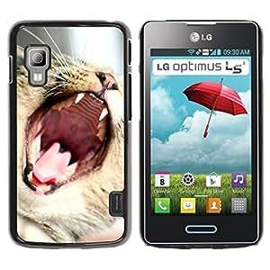 Be Good Phone Accessory // Dura Cáscara cubierta Protectora Caso Carcasa Funda de Protección para LG Optimus L5 II Dual E455 E460 // Cat Roar Yawn Funny Cute Teeth Mouth Whiskers