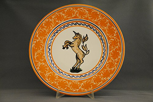 """Dinner Plate Diam. 11"""" with the typical decoration of the districts of the Palio di Siena, completely hand-painted, and Made in Siena Italy. Contrada del Leocorno - - Tartaruga Verde"""