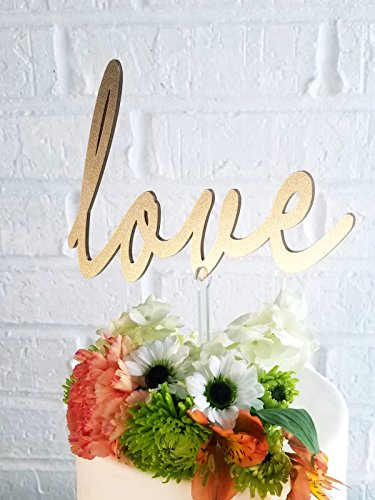 Acrylic Wedding Cake Topper - Love Cake Topper (Shimmery Gold) for wedding, engagement and all occasions cake topper from the best and most premium quality acrylic showing elegance at its best