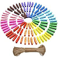 Mini Natural Wooden Clothespins Photo Paper Peg Pin Craft Clips with Natural Twine, 100 Pieces (10 Colors)