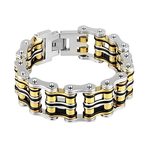 (BlueFox Men's Bracelet Tri-bone High polished Titanium steel Mini Link Biker bracelet,pack 1,8.9''(Silver Black Gold))