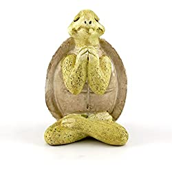 Top Collection Miniature Fairy Garden & Terrarium Yoga Turtle in Seated Namaste Pose Statue, Small