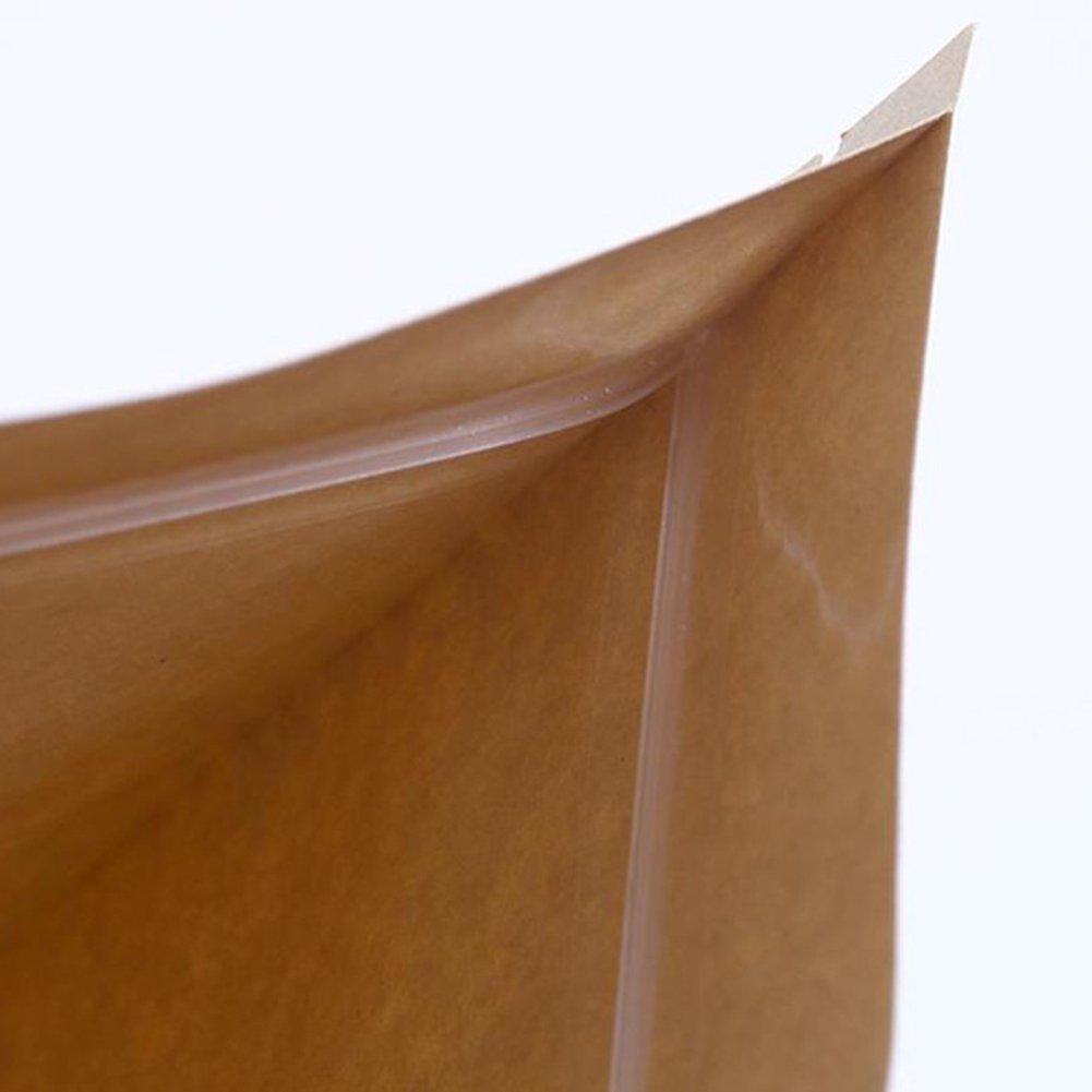 Doitsa 100pcs Reutilizable Pochette Bolsa Bolsas ziplock Papel Kraft con Ventana Transparente Almacenamiento la Comida, Caqui, 9/×14+3cm