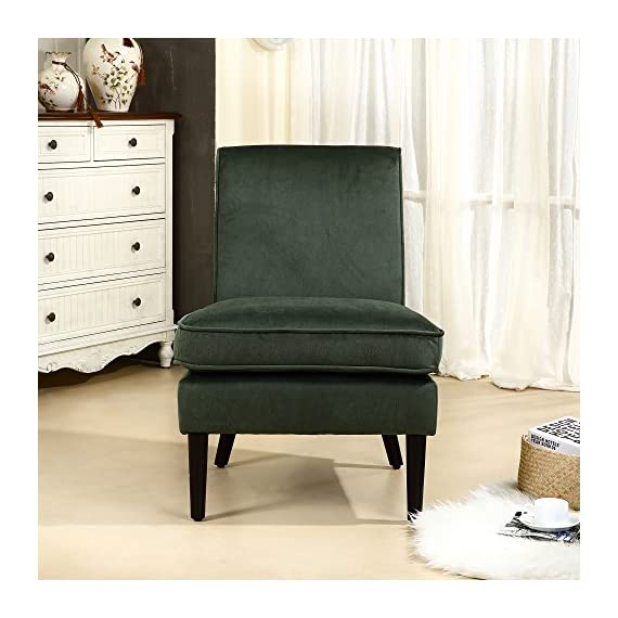 "LSSBOUGHT Luxurious Fabric Armless Contemporary Accent Chair with Solid Wood Frame Legs (Green) - This durable accent chair is crafted with solid wood legs and a luxurious fabric, which means it is built to withstand extensive use through time. it will be at home in any room, matching with both modern and traditional décor. The unique design is a nice touch of modern contemporary appeal. The seat and back are padded for great comfortable feeling, especially the thickened cushion. Overall dimension: 24.8"" W x 28.3"" D x 34.6"" H; Seat width 24.4""; Seat depth 20""; Seat height 19.7""; Apron height 10.8"" - living-room-furniture, living-room, accent-chairs - 518%2ByJZ3EUL. SS570  -"
