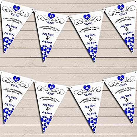 SAPPHIRE 45TH WEDDING ANNIVERSARY 2 PERSONALISED HEARTS JOINED WEDDING BANNERS