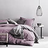 Eikei Washed Cotton Chambray Duvet Cover Solid Color Casual Modern Style Bedding Set Relaxed Soft Feel Natural Wrinkled Look (King, Very Berry)