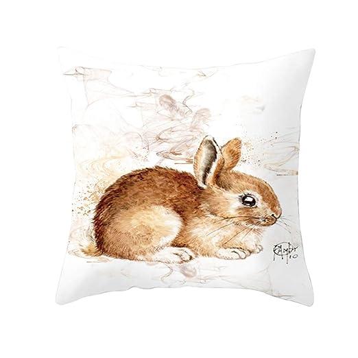 SEGRJ Funda de Almohada Cuadrada Colorido Conejo de Pascua ...