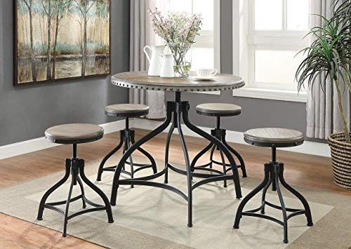OS Home and Office 1172 Adjustable Height Industrial Dining Table with Four Stools, -