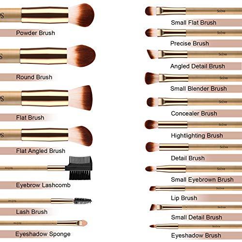 SOLVE 18pcs Makeup Brushes Set Wooden Rose Gold Brush Powder Foundation Round Eyeshadow Fan Kabuki Brushes Kit with Case