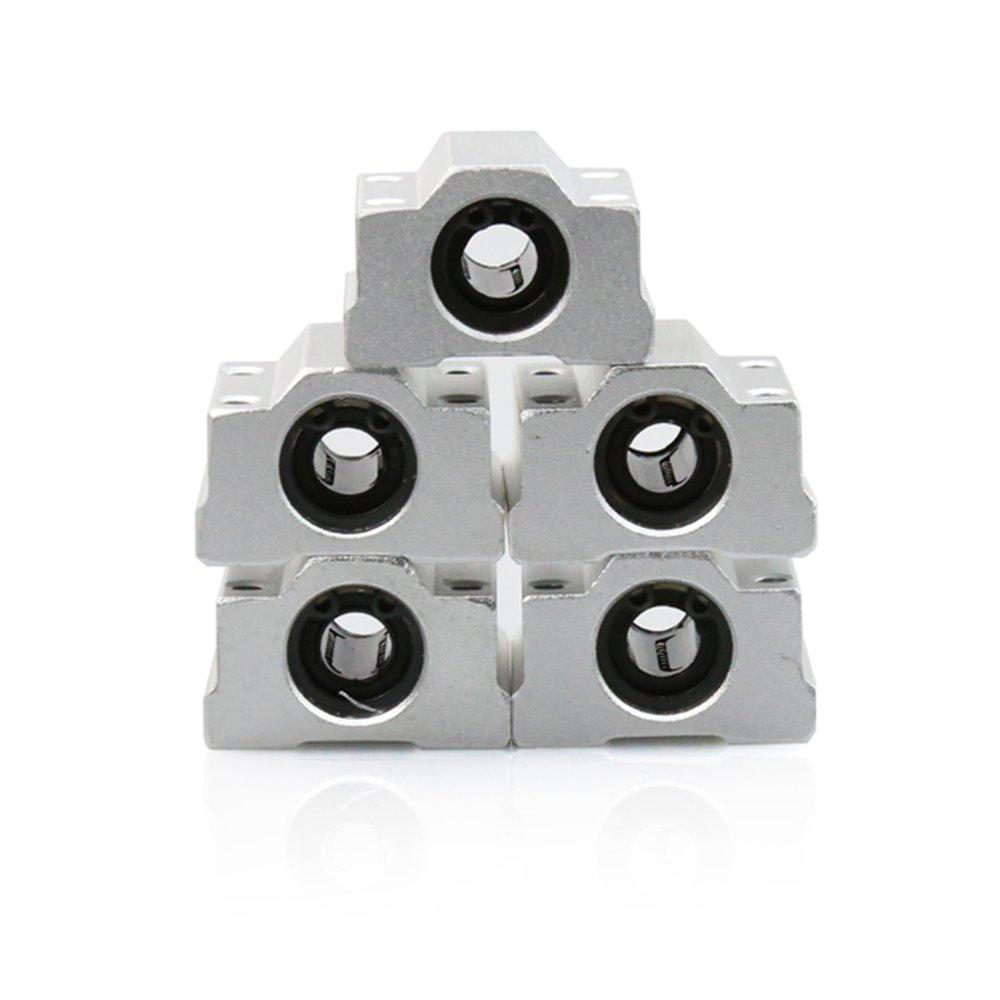 Anet 8mm Linear Bearing Slide Block 5PCS 8mm Aluminum SCS8UU Linear Motion Ball Bearing CNC Slide Bushing for Anet 3D Printer 5PCS