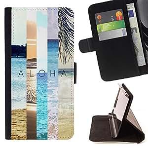 BullDog Case - FOR/Samsung ALPHA G850 / - / summer field nature teal peach sun /- Monedero de cuero de la PU Llevar cubierta de la caja con el ID Credit Card Slots Flip funda de cuer