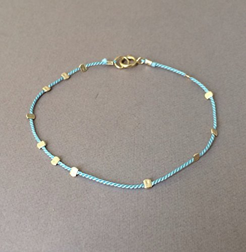 Gold Bead TEAL Silk String Bracelet also in Sterling Silver and Rose Gold Fill