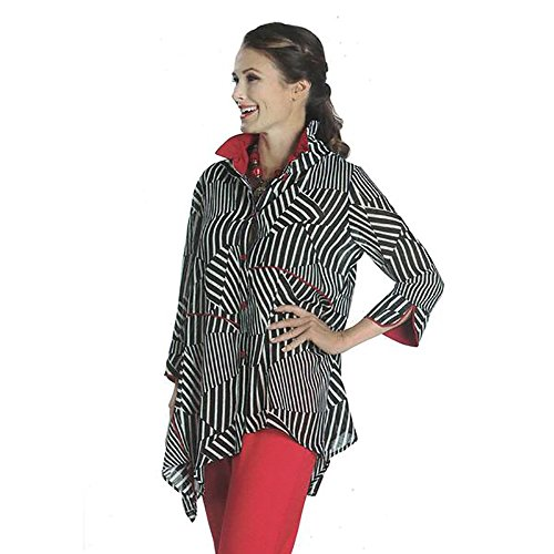 IC Collection Striped Handkerchief Hem Blouse in Black, White & Red- 1118J (XL) by IC Collection