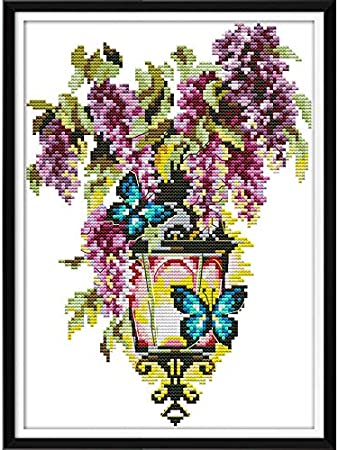 9.45X9.84 Inches XIU TIME Cross Stitch Stamped Kits Printed Embroidery Cloth Needlepoint Kits Easy Patterns for Beginners 11CT, Lion