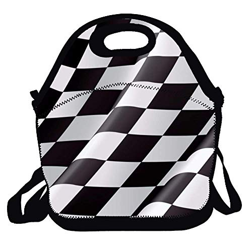 (Insulated Lunch Bag - Checkered Flag Large Reusable Lunch Tote Bags for Women, Teens, Girls, Kids, Baby, Adults)