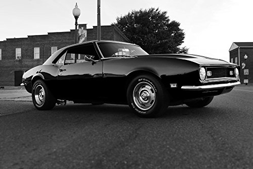 Chevy 68 Camaro Right Front Black and White HD Poster Muscle Car 24 x 16 Inch Print (Camaro Poster)