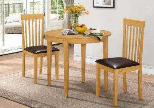 Round Solid Natural Finish Rubberwood Folding Table and 2 Chairs