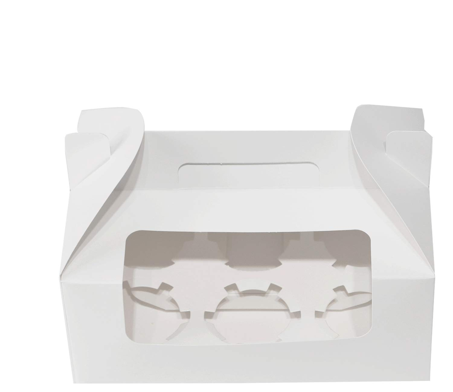 9 inch x 5.9 inch x 3.5 inch Cupcake Boxes Cupcake Box with Handle Cupcake Gift Boxes for 6 Container with Display Window Cupcake Packaging Boxes Cupcake Containers (White,30 PCS) by Sahara Home