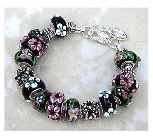 - Black White Pink Flower Murano Glass Bracelet Gift