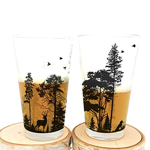 (Pint Glasses - Forest and Animals - Set of Two Screen Printed Pint Glasses)
