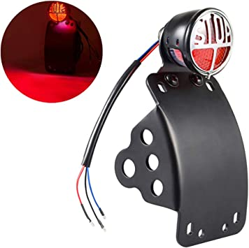 Amazicha LED Tail Brake Rear LightSTOP 3//4 Hole Curve Side Mount License Plate Bracket for Motorcycle Harley Honda live4fun