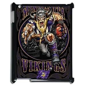 Black NFL Minnesota Vikings Ipad 3 Case Hard Plastic NFL Vikings Ipad Cover HD Image Snap ON