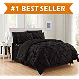 Luxury Best, Softest, Coziest 6-Piece Bed-in-a-Bag Comforter Set on Amazon! Elegant Comfort - Silky Soft Complete Set Includes Bed Sheet Set with Double Sided Storage Pockets, Twin/Twin XL, Black