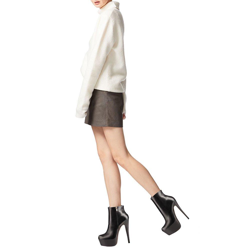 EKS Reißverschluss Frauen Frühling Winter Stiefeletten Reißverschluss EKS Nieten Dekoration Extreme High Heel Stiefel Schwarz-Matte 9a990e