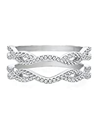 Silver Gems Factory 1/3 ct Solitaire Enhancer Cubic Zirconia Ring Guard Wrap Wedding Band 14K White Gold Over Alloy