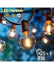 Guirnaldas luminosas de exterior,[LED Versión] OxyLED G40 7,62 Metros 25 bombillas Luces de la secuencia del jardín al aire libre,Decorative String Luces,Garden Terrace Luces de patio de Navidad