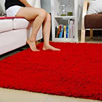 Ustide Red Chenille Rugs Shaggy Washable Kitchen Area Rug Sets Thick Indoor Non Slip Floor Mat Living Room Rugs 2X3