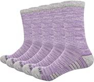 YUEDGE Women's Moisture Wicking Comfy Cotton Cushion Crew Sports Athletic Socks(5 Pairs/P