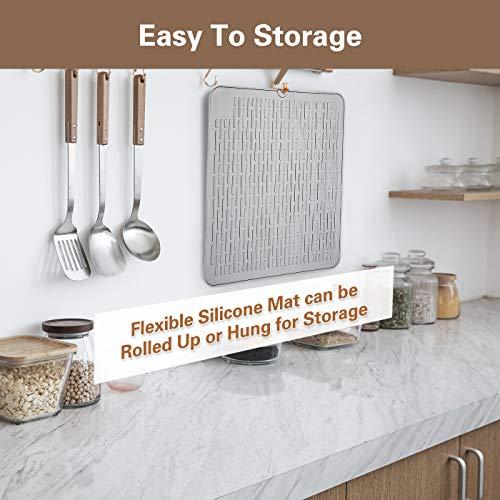 "Silicone Dish Drying Mat,Non Slip & Heat Resistant Trivet Counter Top Protection Mat, Waterproof Sinks Drain Pad, Dishwasher Safe Dish Mat, 18""x 16"" (Grey)"