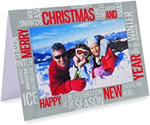 "Pack of 6 Shot2go photo christmas cards with envelopes. Silver text design. Each card holds one 4x6"" (10x15cm) photo"