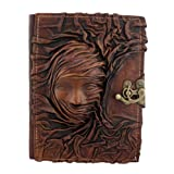 Embossed Scarfed Woman Refillable Leather Journal / Diary / Lock / Brown / Notebook / Plain Paper Book Women Men Children Office Work by A Little Present