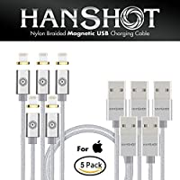 Hanshot Nylon Braided Magnetic High Speed USB Charging and Data Transfer 4FT Cable for Android & iOS Devices (iOS Silver 5 Pack)
