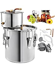 Flousher Water Distiller 5Gal 21L Copper Tube with Circulating Pump Home DIY Brewing Kit Still Distiller Build-in Thermometer, Stainless Steel
