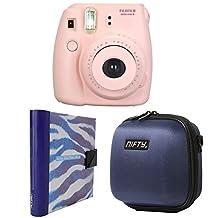 Nifty FK-M8PK85PP Fuji Instax Mini 8 Camera Kit Pink, with Mini Camera Case Navy Blue, A Purple and White Zebra Album