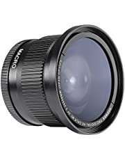 Neewer® - Lente gran angular de ojo de pez con cubierta de lente para Canon Rebel T5i, T4i, T3, T3i, T2i, T1i, XTi, XT, XSi, XS, SL1, Canon EOS 1100D, 1000D, 700D, 650D, 600D, 550D, 500D, 450D, 400D, 300D, 100D