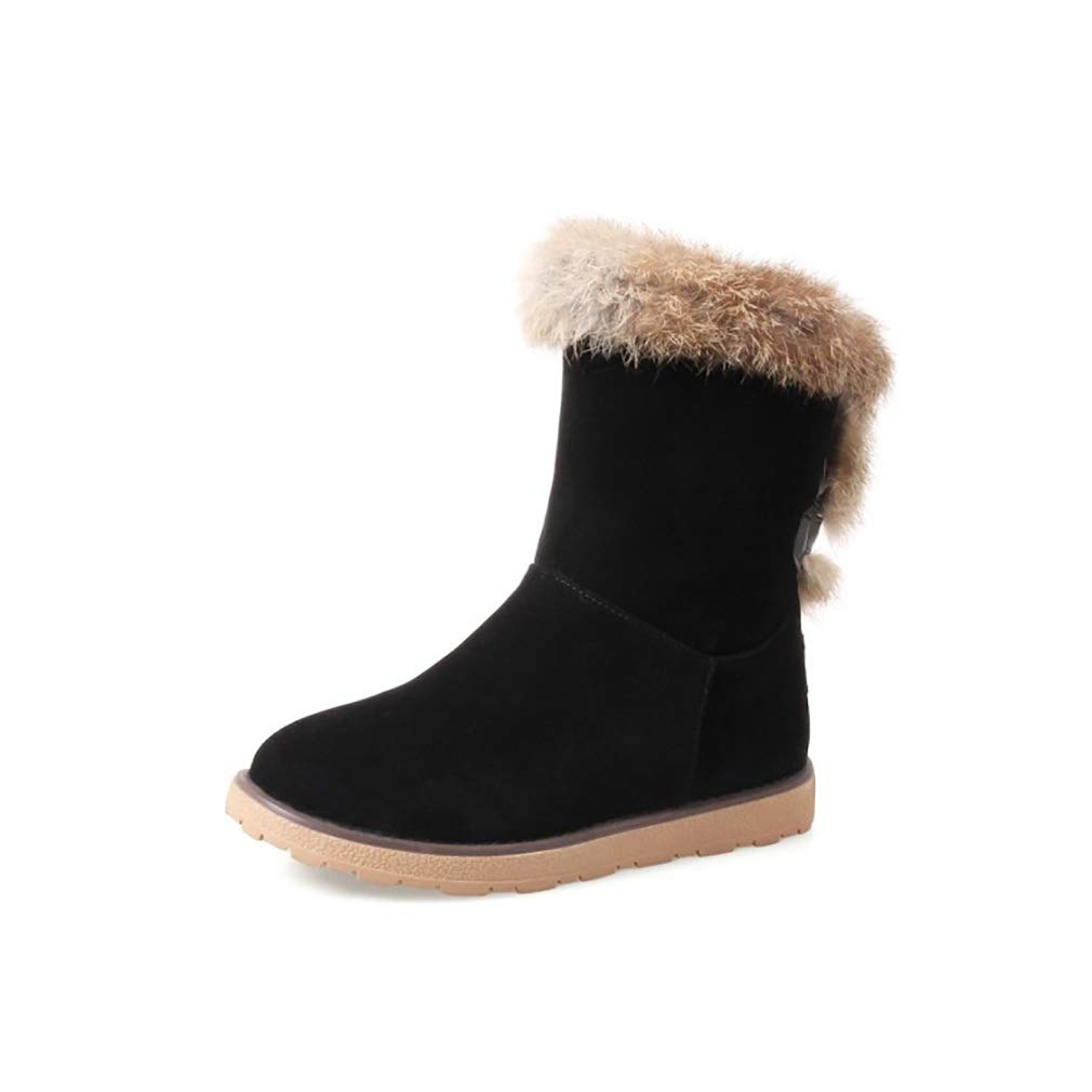 Hy Damen Stiefel Winter Stiefel Wildleder Winter Stiefelies/Damen Schnee Stiefel Stiefel/Academy Flache beiläufige große Größe Stiefeletten/Student Snow Stiefel Stiefel (Farbe : C, Größe : 40)