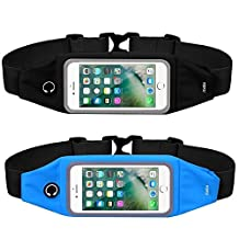 Running Belt Waist Pack for iPhone 7, 7 Plus, 6, 6 Plus, Galaxy S5, S6, S7, Edge, LG with Waterproof Case - with Transparent Touch Screen Window - Runners Belt - Fitness Belt for Women and Men