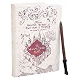"""Harry Potter Marauder's Map Journal with Harry Wand Pen - 192 Blank Pages with Bookmark - 8.5"""" x 6"""""""