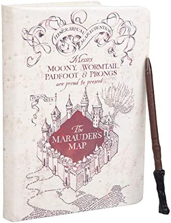 "Harry Potter Marauder's Map Journal with Harry Wand Pen - 192 Blank Pages - 8.5"" x 6"""