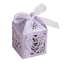 Candy Boxes - SODIAL(R)50pcs Love Heart Laser Cut Gift Candy Boxes Wedding Party Favor With Ribbon Light purple