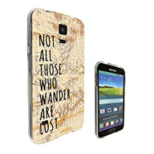 441 - Vintage World Map Not All Those Wonder Are Lost Design Samsung Galaxy S5 / S5 Neo fashion Trend CASE Gel Rubber Silicone All Edges Protection Case Cover