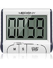 Merisny Digital Küchentimer/Stoppuhr, Kochtimer Wecker mit großem Bildschirm, laut klingendem Alarm, starker magnetischer Rückwand, versenkbarer Ständer, [2 Knopfzellen im Lieferumfang]