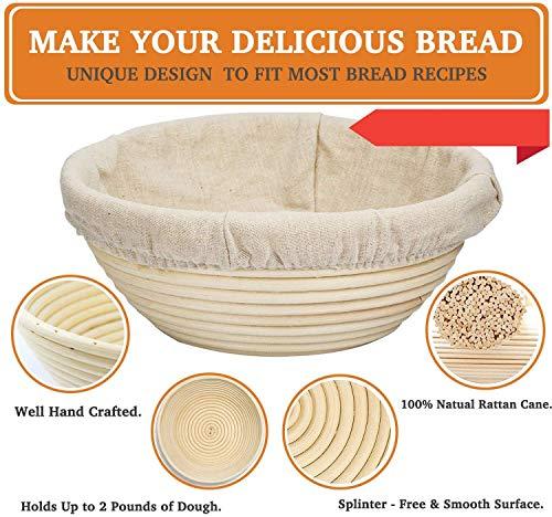 Bread Proofing Basket 8.5 inch Banneton Proofing Basket Natural Rattan Sourdough Proofing Basket for Professional Home Bakers (with Linen Liner)